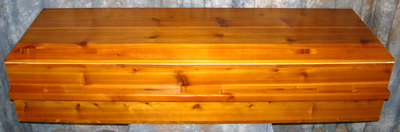 Solid cedar wood caskets.