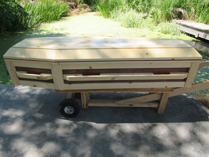 Premier 2 Tone Pine Coffin by Caskets by Design