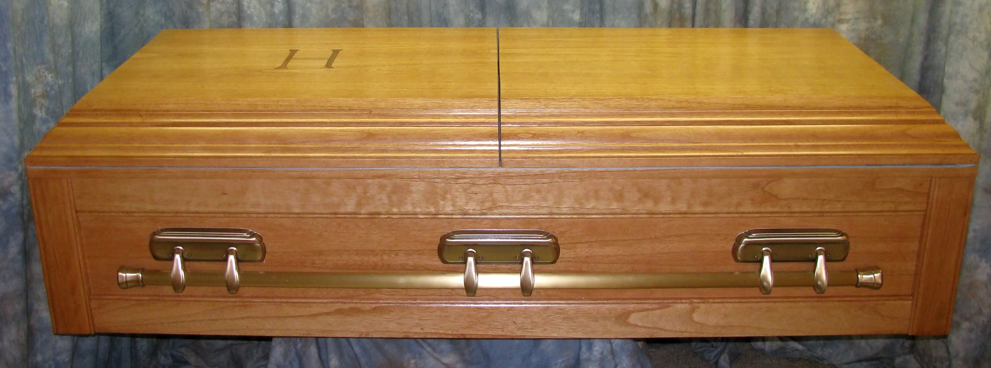 custom oversized casket made out of paulownia wood