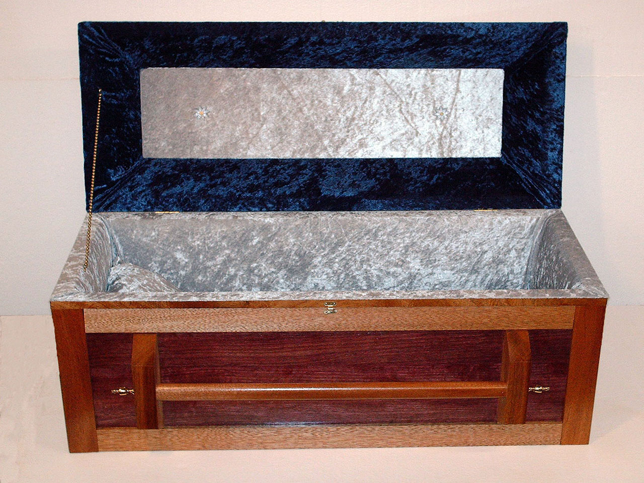 Small/Medium sized pet casket made from Mahogany wood, styled in a